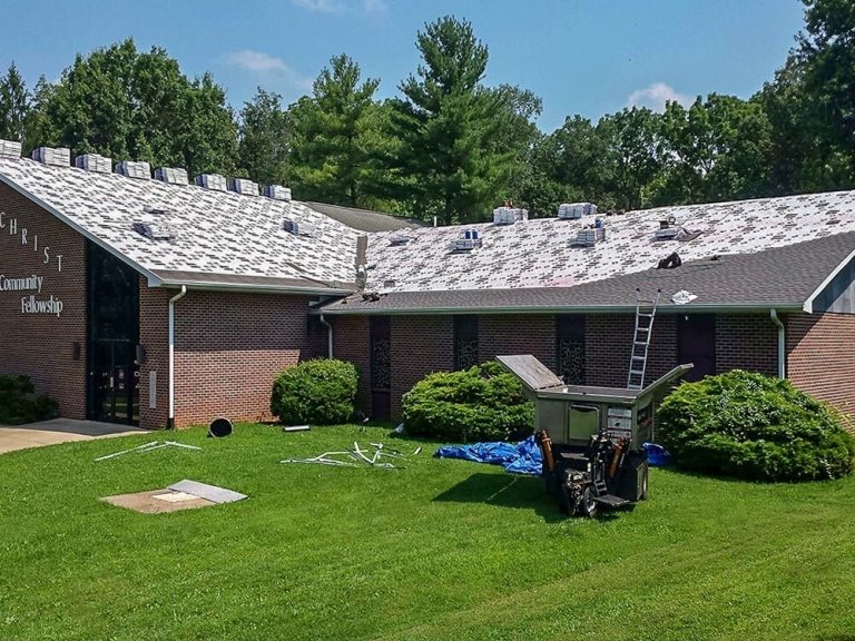 New roof on a church by Hillcrest Roofing and Siding.