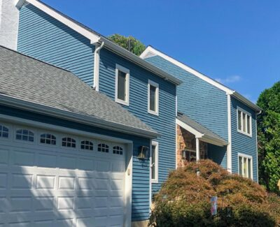 New blue vinyl siding