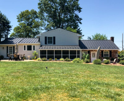 black standing seam metal home roof in Schweknsville, pa